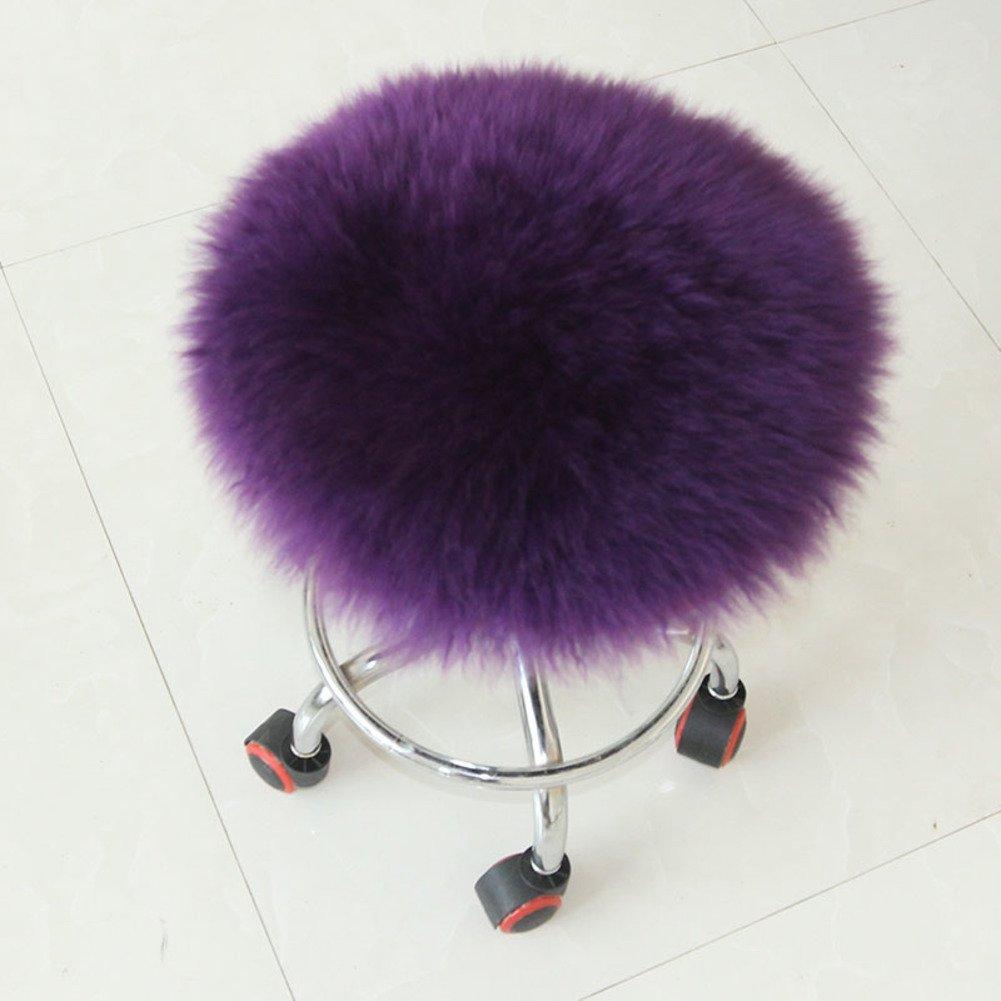 Pure color plush chair pads,Sofa cushions Futon Round seat cushioning Fluffy Footstool Shaggy-purple 150x150cm(59x59inch)