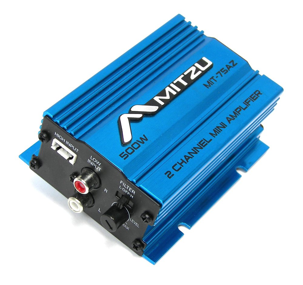 Blue Mitzu Mit-75az 2 Channel 500 Watt Car Audio Amplifier Motorcycle ATV Amp Amps