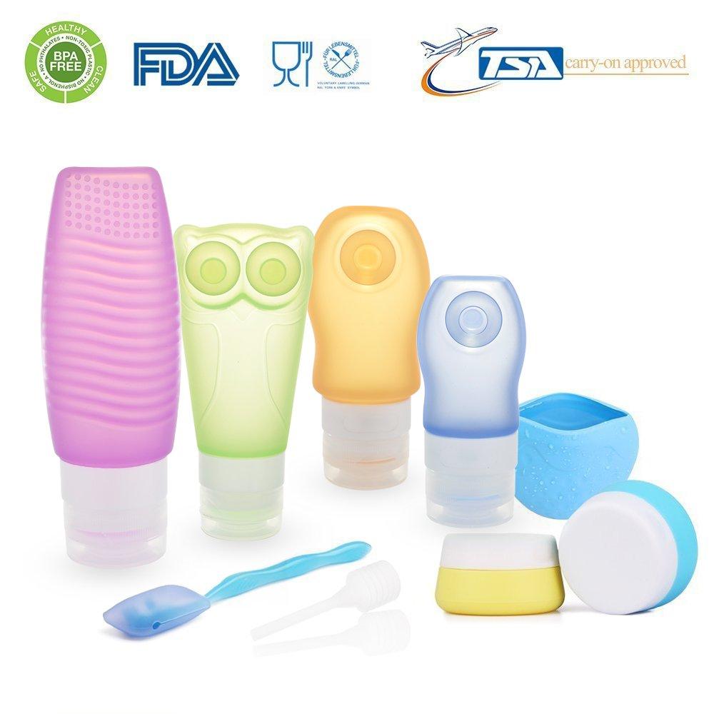 [FDA Zertifiziert] ieGeek Silikon-Reise-Flaschen-Set BPA frei nachfüllbare Körperpflege-10 Set für Shampoo, Lotion, Sonnenschutz , Toilettenartikel – geeignet für Outdoor, Fitness, Geschäftsreise usw. Geschäftsreise usw.