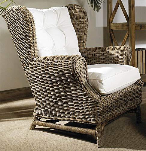 Padma's Plantataion Wing Chair, Kubu with White Cushion