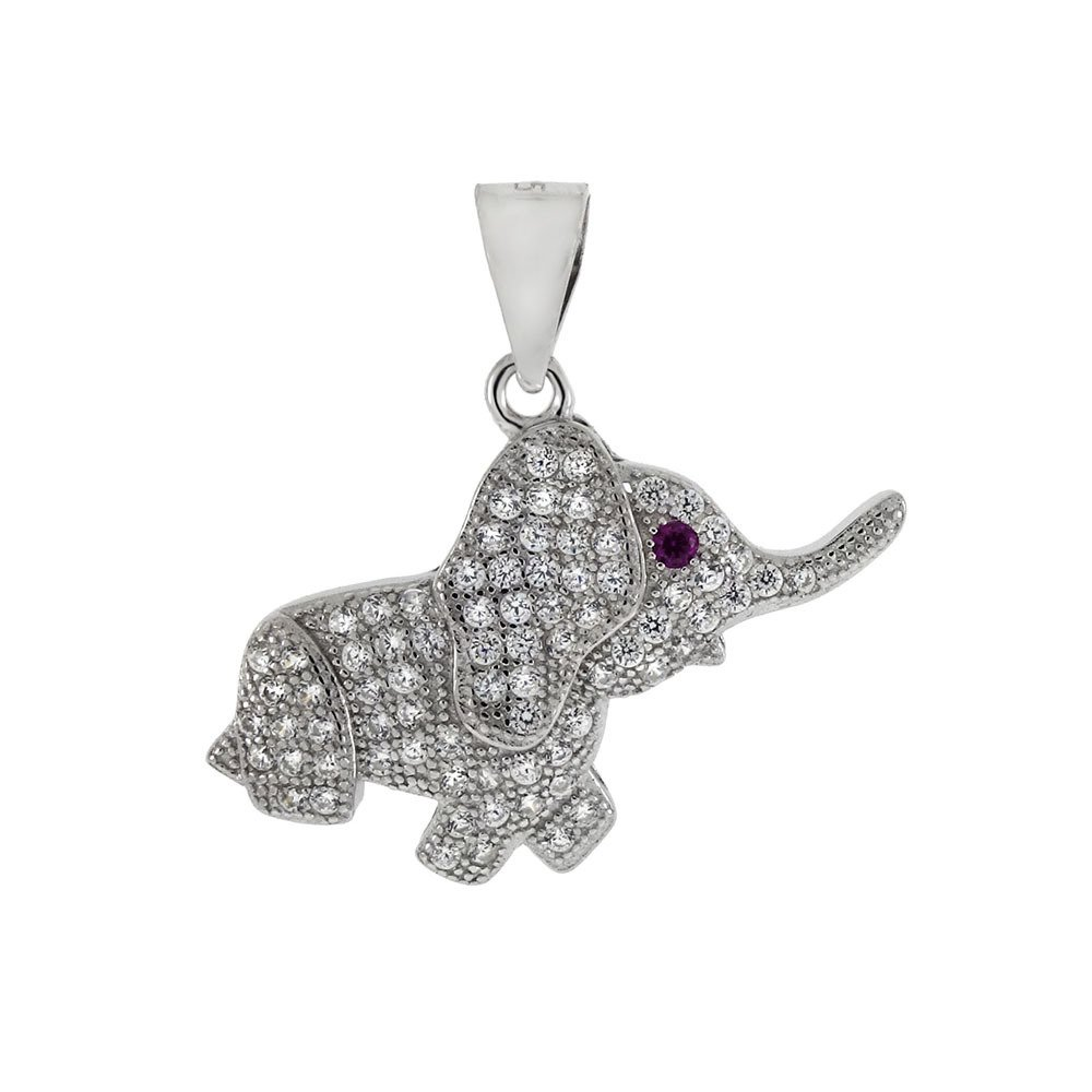 CloseoutWarehouse Clear Pave Set Cubic Zirconia Happy Elephant Pendant Sterling Silver
