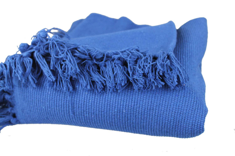 GMMH Fleckerlteppich Baumwolle Handweb Teppich Flickenteppich Fleckerl Handwebteppich (150 x 210 cm, blau)