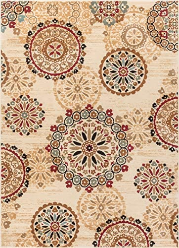 Rosy Suzani Ivory Multi Red Green Oriental Floral Geometric Modern Casual Area Rug 5×7 5 3 x 7 3 Easy Clean Stain Fade Resistant Shed Free Contemporary Formal Persian Soft Living Dining Room Rug