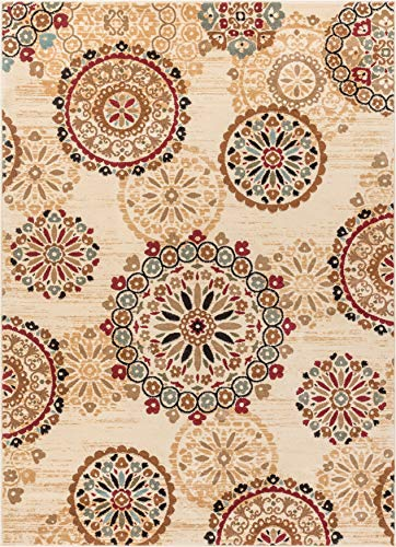 Rosy Suzani Ivory Multi Red Green Oriental Floral Geometric Modern Casual Area Rug 8x10 8x11 ( 7