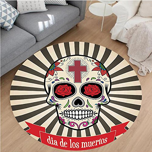 Nalahome Modern Flannel Microfiber Non-Slip Machine Washable Round Area Rug-Dead Decor Floral Sugar Skull with Christian Cross on Sunburst Pattern Grey Beige and Red area rugs Home Decor-Round 67'' by Nalahome
