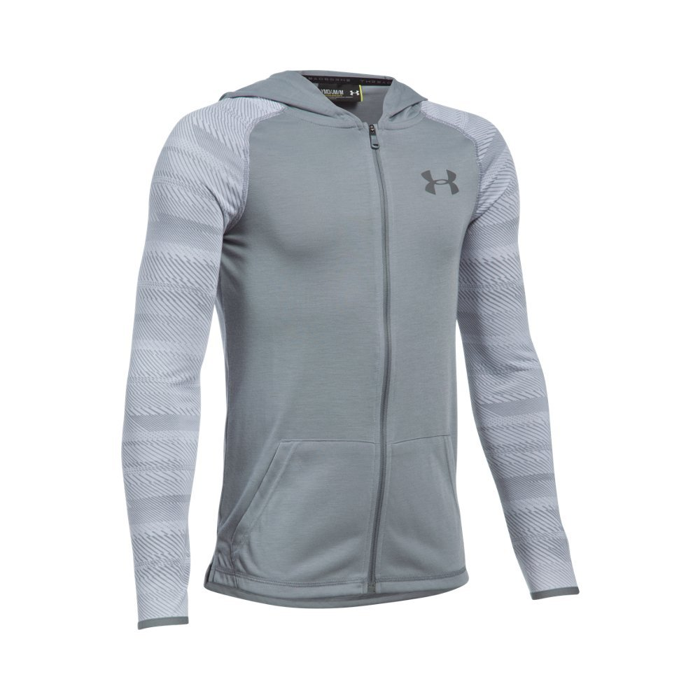 Under Armour Boys' Threadborne Full Zip Hoodie,Steel /Graphite, Youth X-Small