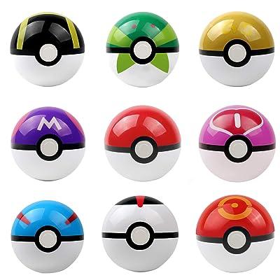 JIAYOUNG 9PCS Pokemon pikachu Pokeball Cosplay Pop-up Master Great Ultra GS poke BALL Toy: Everything Else