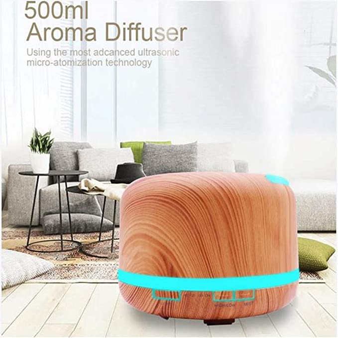 Amazon.com: FEIJFEI 500ml Essential Oil Diffuser Aroma Diffusers Shallow Wooden-Grain with Waterless Auto Shut-Off 7 Color LED Lights for Home Office ...