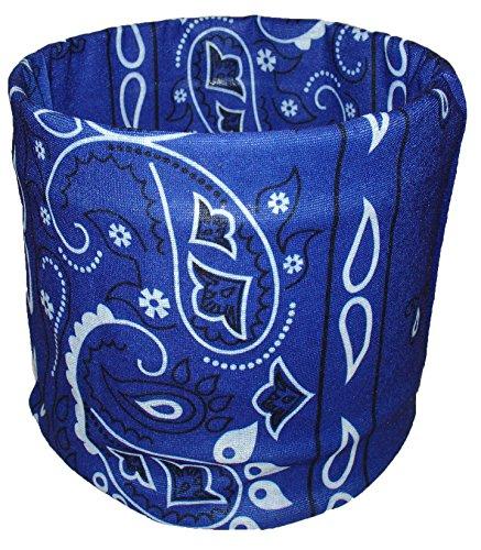 Royal Blue Paisley Multi Function Microfiber Headband Beanie Durag Face Mask Headwrap ()