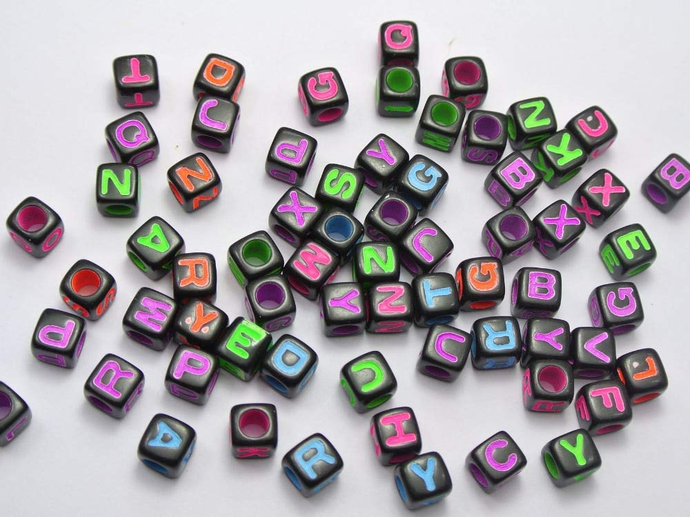 6,7mm cube black neon colorful letter alphabet or number acrylic bead