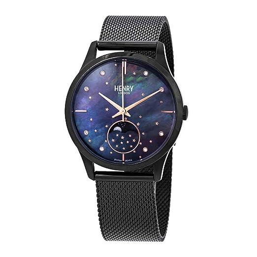 Henry London Reloj Fase Lunar para Unisex Adultos de Cuarzo con Correa en Acero Inoxidable HL35-LM-0326: Amazon.es: Relojes