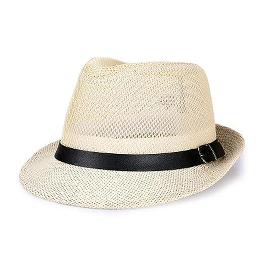 62917b81078d1 AOBRITON Male Sunbonnet Summer Mesh Fedoras Straw Hat Breathable Summer  Jazz Panama Cap