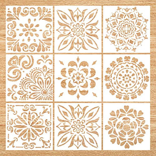 Mandala Stencil Set of 9 (6x6 inch) Painting Stencil, Laser Cut Painting Template for DIY Decor, Painting on Wood, Airbrush, Rocks and Walls Art (Stencil Mandala)