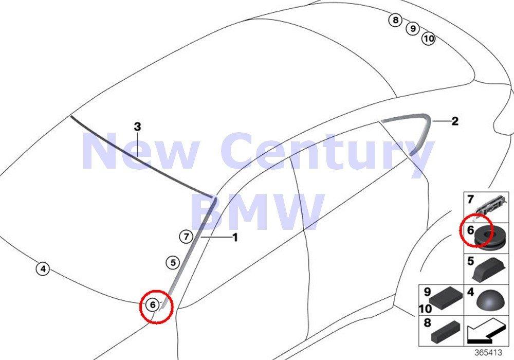 2 X BMW Genuine Window Mounting Parts Grommet X5 35dX X5 35i X5 35iX X5 40eX X5 50iX X6 35i X6 35iX X6 50iX X5 M X6 M