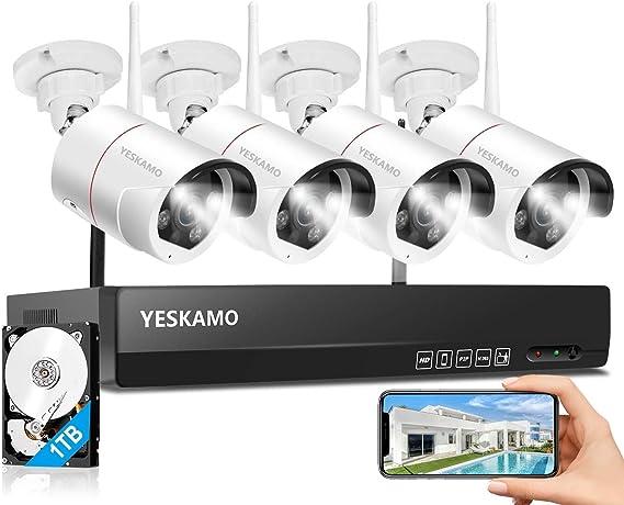 Yeskamo Überwachungskamera Set Flutlicht Aussen Elektronik
