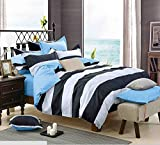 Getmorebeauty Striped Soft Bed Quilt Doona Duvet Cover Set Queen Size (Black)