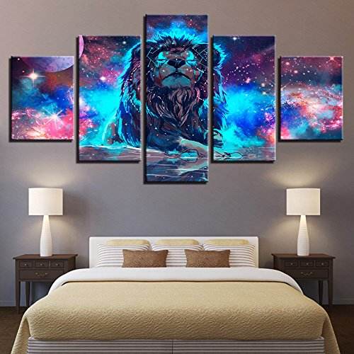[LARGE] Premium Quality Canvas Printed Wall Art Poster 5 Pieces / 5 Pannel Wall Decor Abstract Nebula Lion Painting, Home Decor Pictures - With Wooden Frame