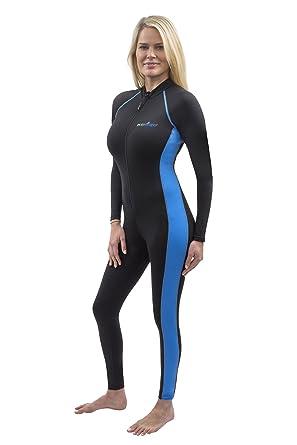 d327811cceb Women Full Body Stinger Swimsuit UV Protection UPF50+ Chlorine Resistance  Black Blue XS
