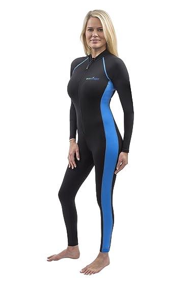 adfe19afbf266 Women Full Body Stinger Swimsuit UV Protection UPF50+ Chlorine Resistance  Black Blue XS
