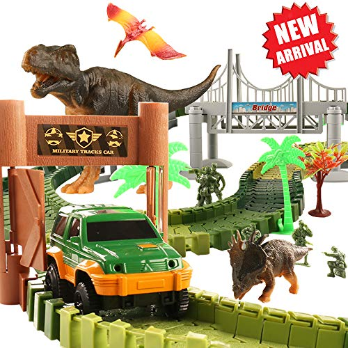 (HQQNUO Dinosaur Toys Track Car Sets Jurassic World with 144 Pcs Magic Tracks 5 Soldier 3 Dinosaurs 1 Vehicles 1 Hanging Bridge Track Car Toys for Girls and Boys)