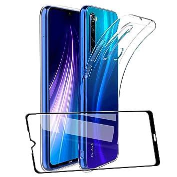 UCMDA Funda para Xiaomi Redmi Note 8 con Protector de Pantalla, Fundas Transparente Silicona TPU Carcasa para Xiaomi Redmi Note 8 con Cristal Templado ...