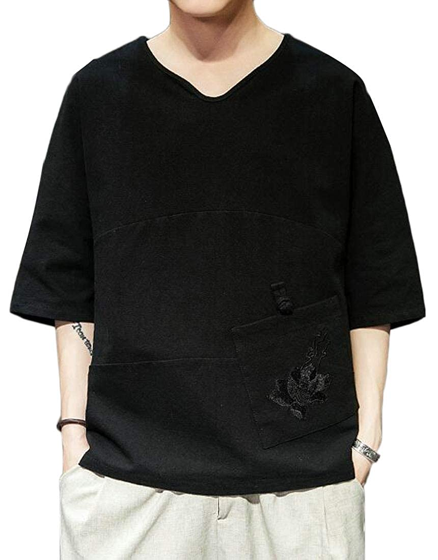 Jofemuho Mens Pure Color Cotton Linen 3//4 Sleeve Loose Embroidery T-Shirt Tee