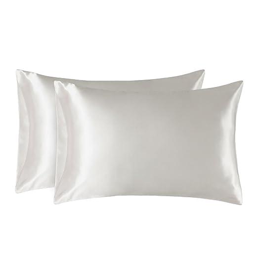 Bedsure Funda Almohada 50x75cm de Satén Pelo Rizado Blanco Marfil 2 Piezas - Muy Liso Suave de 100% Microfibra sin Cremallera