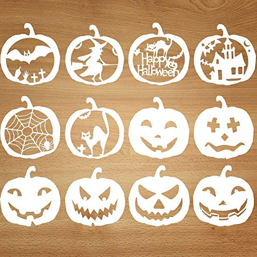 Easy Halloween Carving Pumpkins (Mocoosy Halloween Stencils Template - DIY Pumpkins Stencils Set Kids Plastic Painting Drawing Stencils for Crafts Spraying Wall Door Window Glass Wood Cards and More 12)