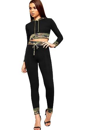 42923256b3390 WearAll Women's Camouflage Print Long Sleeve Hood Crop Top Leggings Ladies  Loungewear Set 8-14: Amazon.co.uk: Clothing