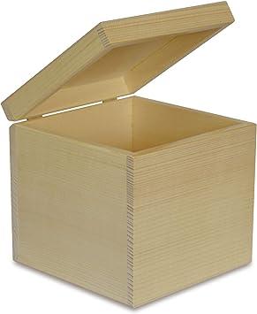 Creative Deco Cuadrada Caja Madera para Decorar | 16 x 16 x 16 cm | con Tapa | Decoración Decoupage Almacenaje de Documentos, Objetos de Valor, Juguetes, Herramientas, Fruta: Amazon.es: Hogar