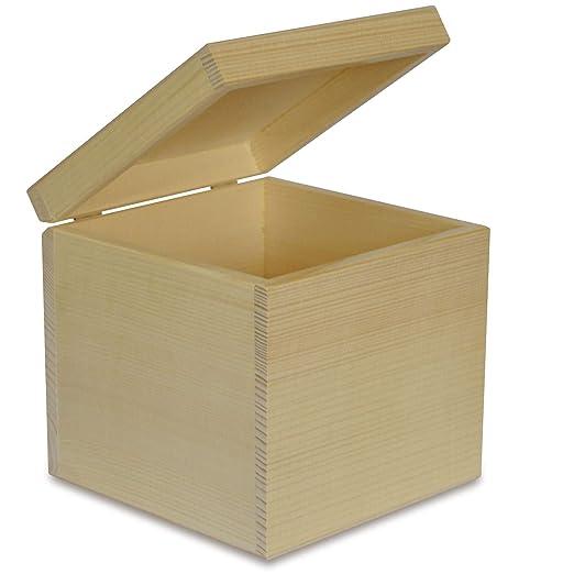 Creative Deco Cuadrada Caja Madera para Decorar | 16 x 16 x 16 cm ...