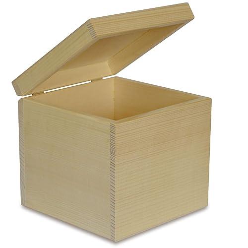 Creative Deco Cuadrada Caja Madera para Decorar | 16 x 16 x 16 cm | con Tapa | Decoracion Almacenaje Herramiente Fruta Decoupage Documentos Objetos de Valor ...