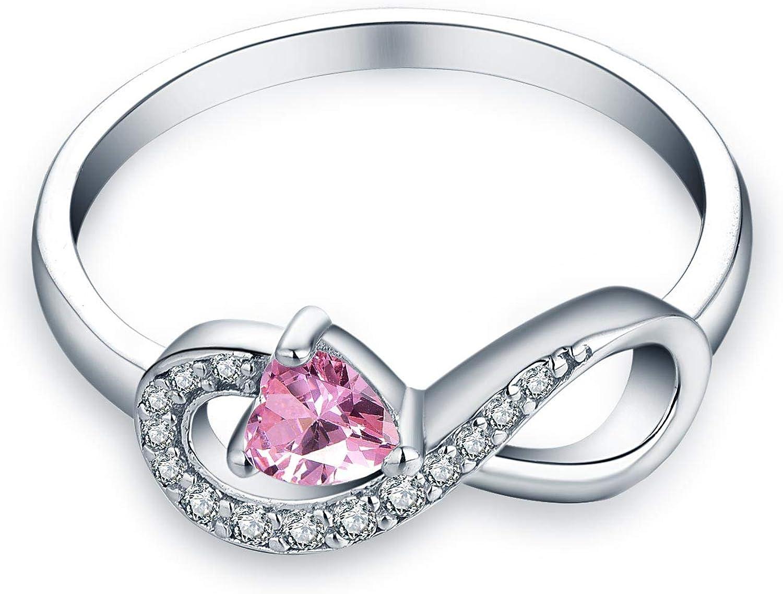 JO WISDOM Infinity Heart Promise Rings for Her Sterling Silver Friendship Ring