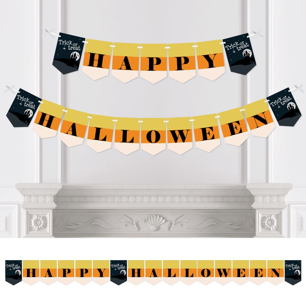Big Dot of Happiness Trick or Treat - Halloween Party Bunting Banner - Orange Party Decorations - Happy Halloween