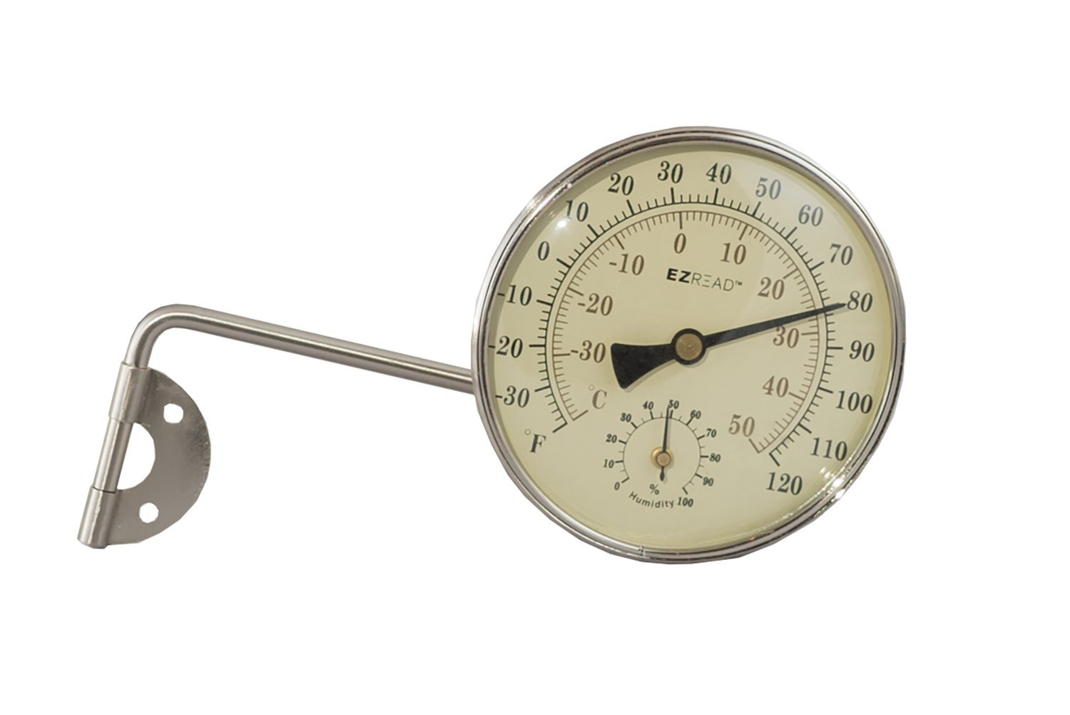 EZRead Headwind Consumer Products 840-0081 Metal Thermometer/Hygrometer, Brushed Nickel, 4''