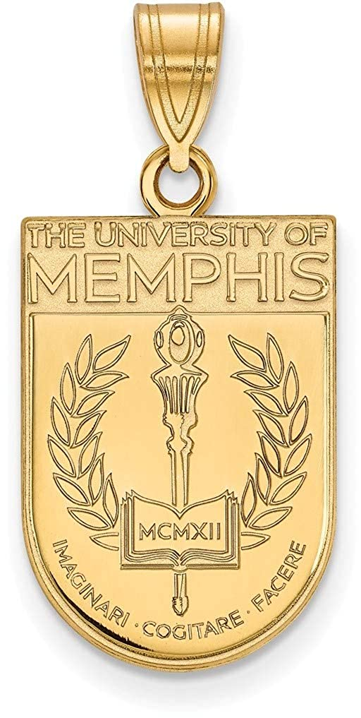 Gold-Plated Sterling Silver University of Memphis Large Pendant LogoArt GP027UMP