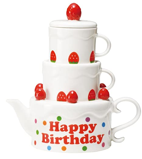 Awesome Birthday Cake Tea For Two San2025 Set Of Two Cup And Teapot 2 Personalised Birthday Cards Cominlily Jamesorg