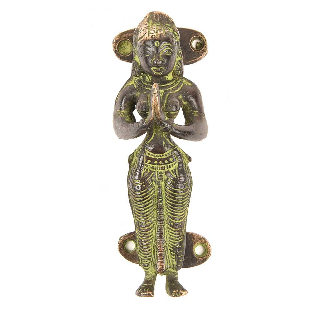 IndianShelf Handmade Brass Black Lady Standing Furniture Handle/Pull- 2 Pieces(NMH-139)