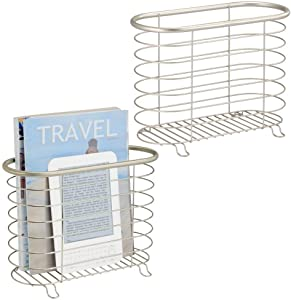 mDesign Decorative Metal Farmhouse Magazine Holder and Organizer Bin - Standing Rack for Magazines, Books, Newspapers, Tablets in Bathroom, Family Room, Office, Den - 2 Pack - Satin