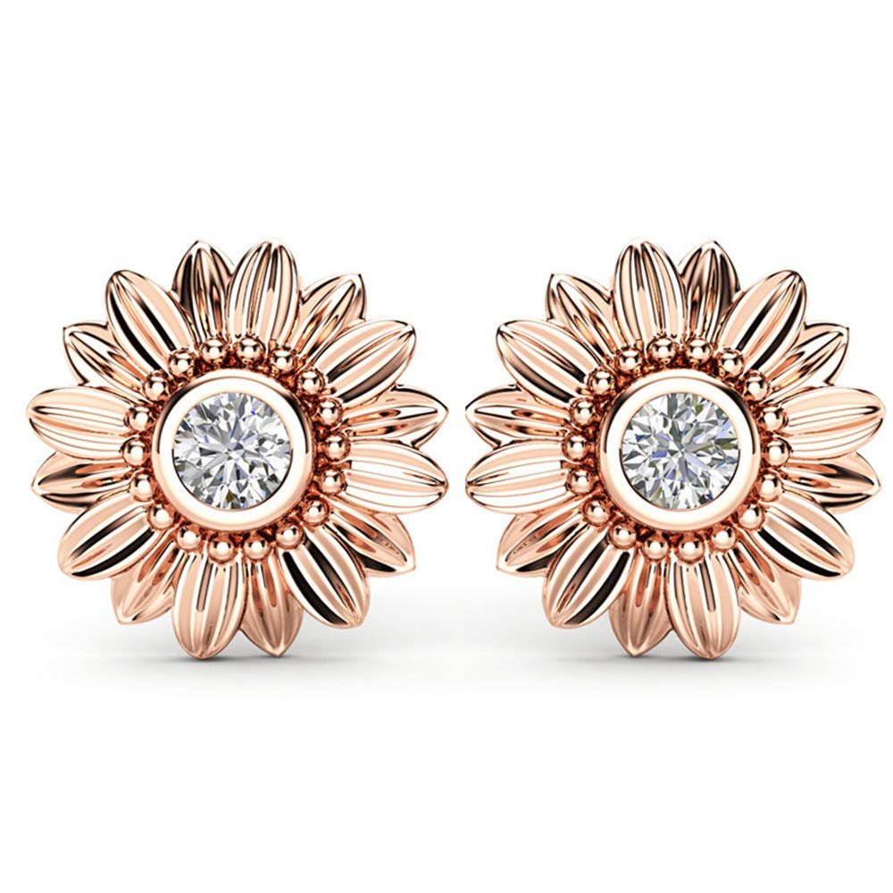 Huitan Daisy Blossom CZ Earrings Stud Earrings with Three Colors to Choose,Bali Style Engagement Earrings for Girls