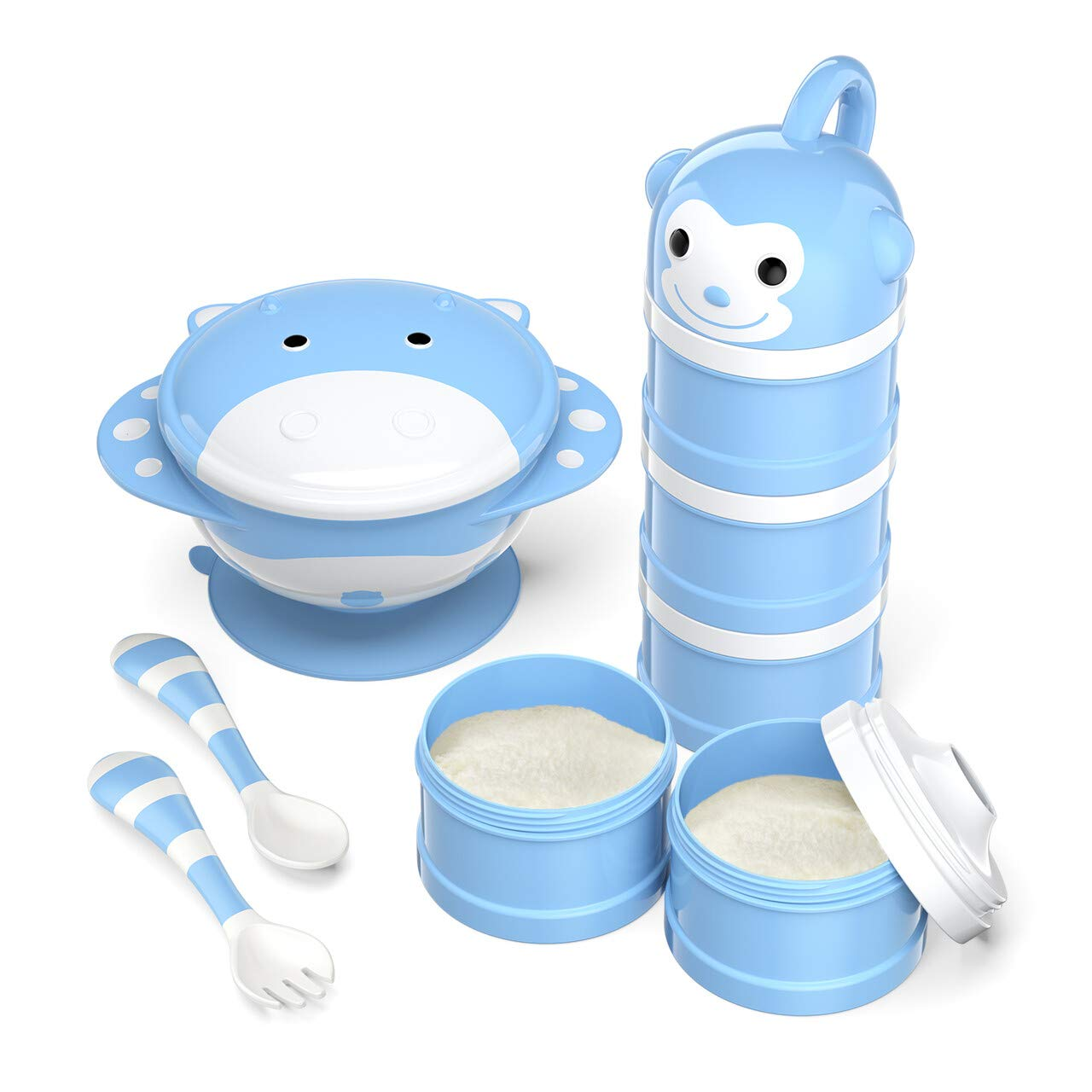 Babyking Baby Feeding Set, Harmless & Cartoon, Baby Suction Bowl Set, Children Tableware Set, Suction Bowl, Spoons Forks Set, Milk Powder Dispensers für Baby'S 3 Meals (Blue)