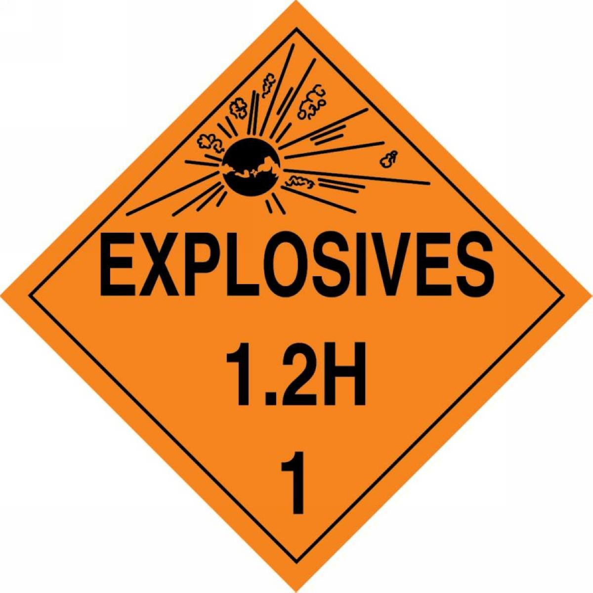 Accuform MPL116CT25 PF-Cardstock Hazard Class 1/Division 2H DOT Placard, Legend'EXPLOSIVES 1.2H 1' with Graphic, 10-3/4' Width x 10-3/4' Length, Black on Orange (Pack of 25)