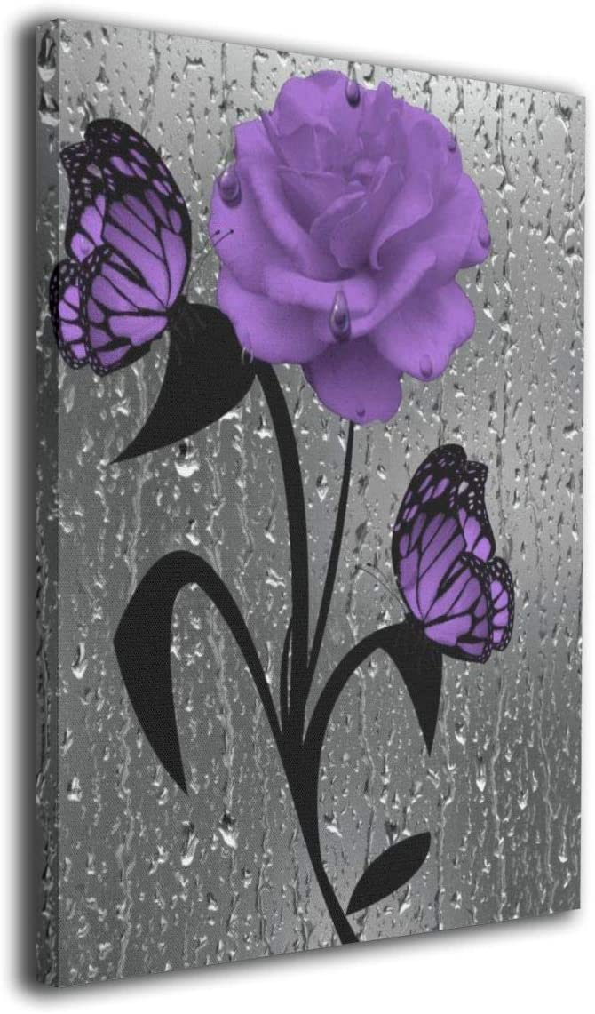 """Canvas Prints Giclee Ready To Hang For Home Decoration - Purple Rose And Butterflies Frameless Wall Art Decor Paintings For Home Office Decorations 16""""x20"""""""