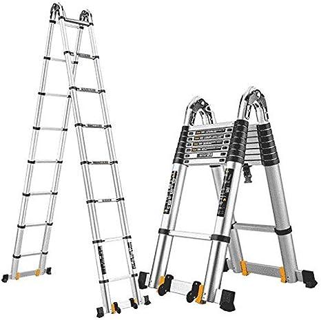YXLONG Escalera Telescópica con Barra Estabilizadora - Escaleras De Extensión De Aluminio para Actividades Al Aire Libre Inicio Escaleras De Servicio Pesado Capacidad 150 Kg,3.7m+3.7m: Amazon.es: Deportes y aire libre