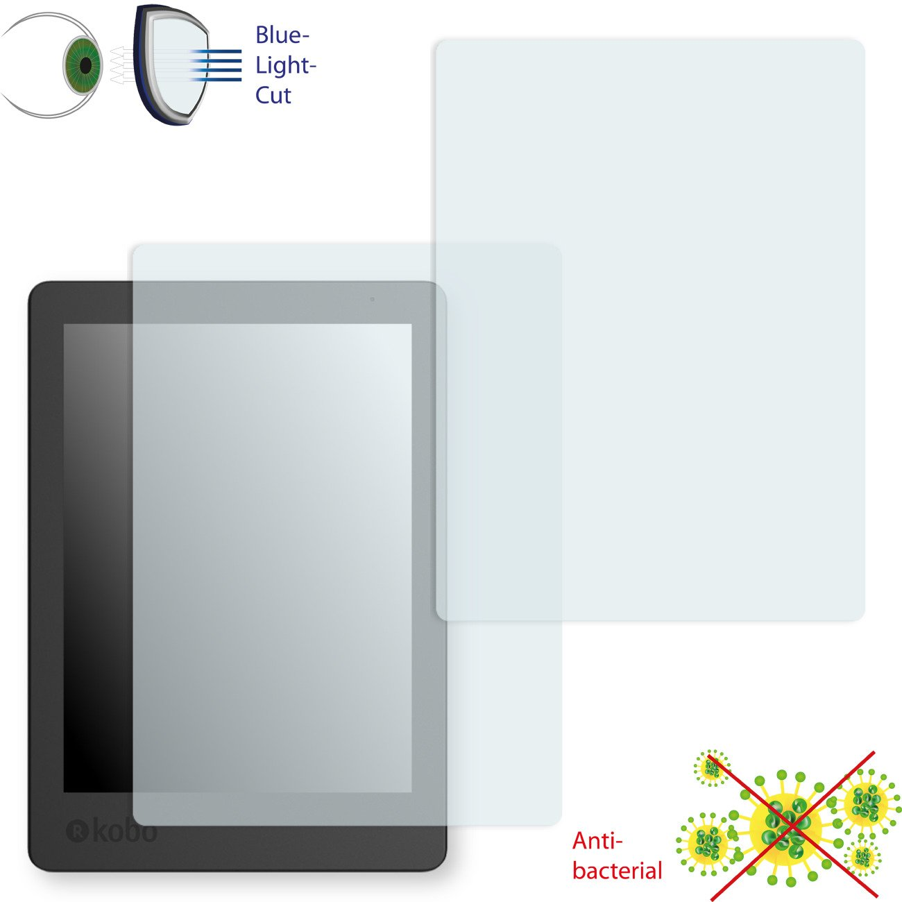 2 x DISAGU ClearScreen Screen Protection Film for Kobo Aura Edition 2 Antibacterial, BlueLight Filter Protective Film #dh7597_2