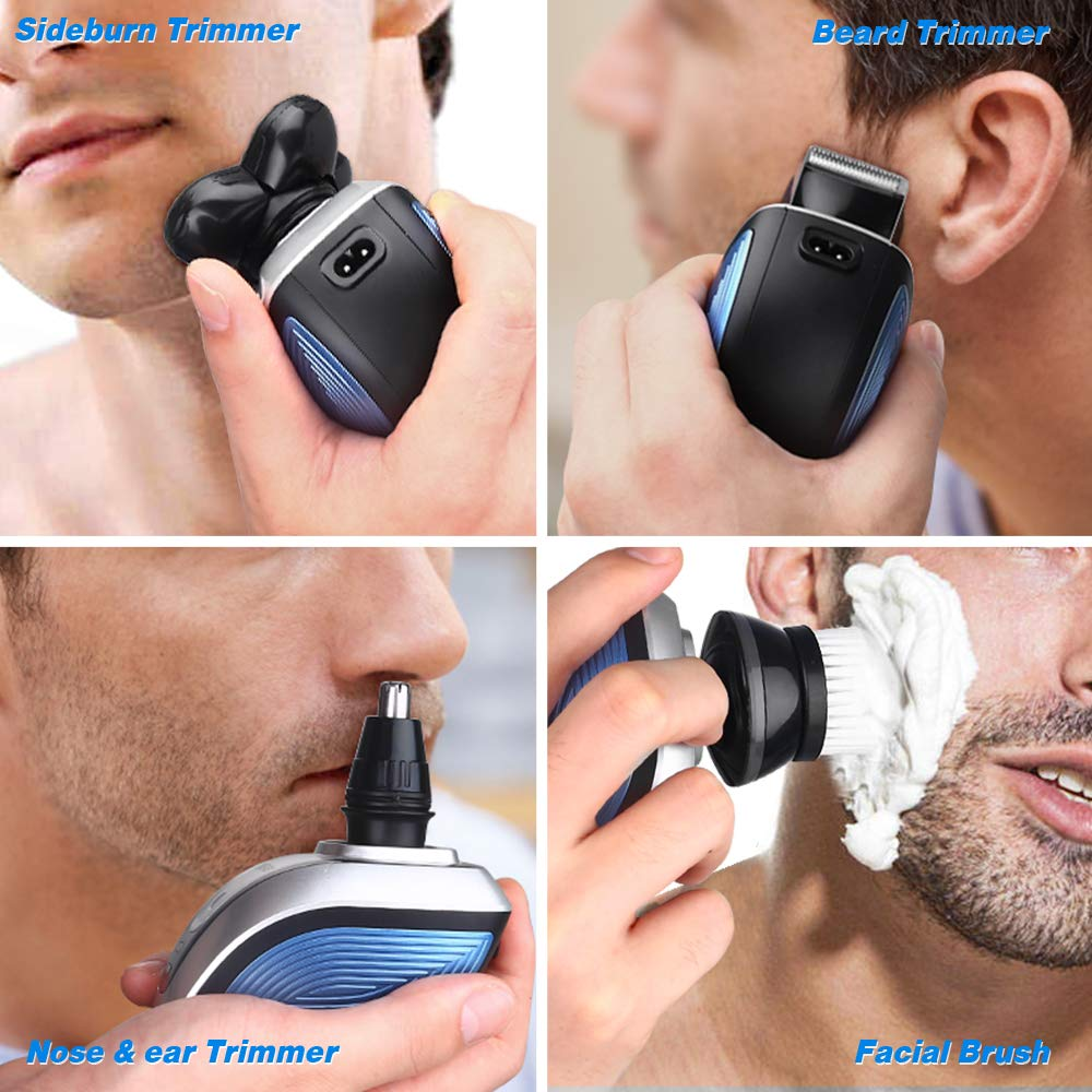 Electric Shaver for Men, Cordless 4 In 1 Electric Razor Bald Head Rotary Shaver