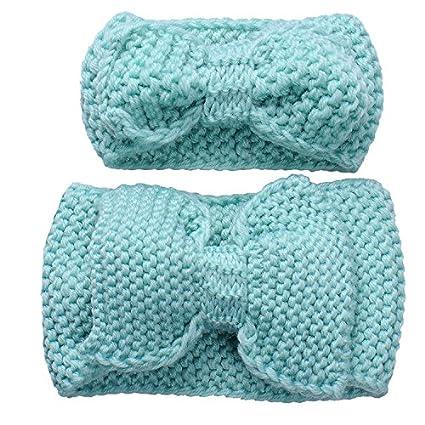 Tuerca Y Yo zusammenpassende turbante cinta manera Baby Strickendes arco Cinta Set azul azul