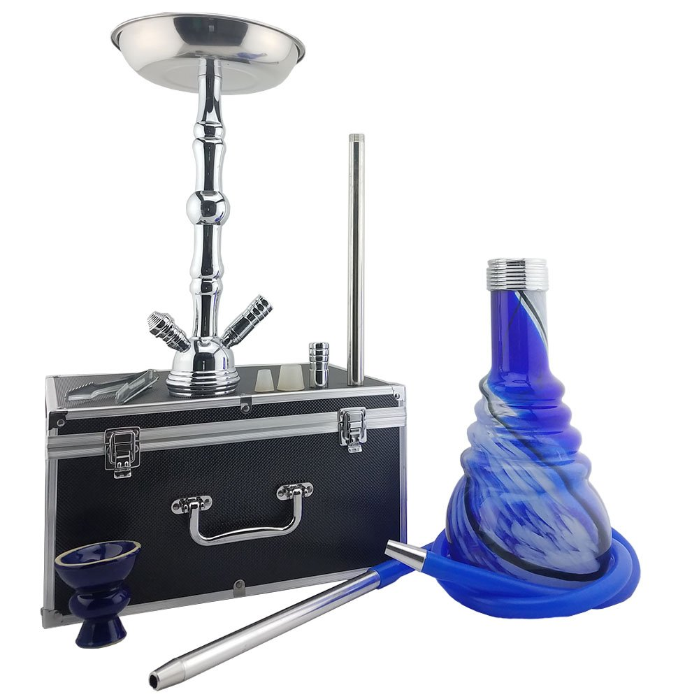 Hookah Shisha 27'' Tall Screw In With Travel Case Included - Second Hose Adapter Included (second hose not included) - Free Mouth Tips and Quick Light Charcoal - Premium Glass Hookah Pen (Blue) by Coco-Flame (Image #2)
