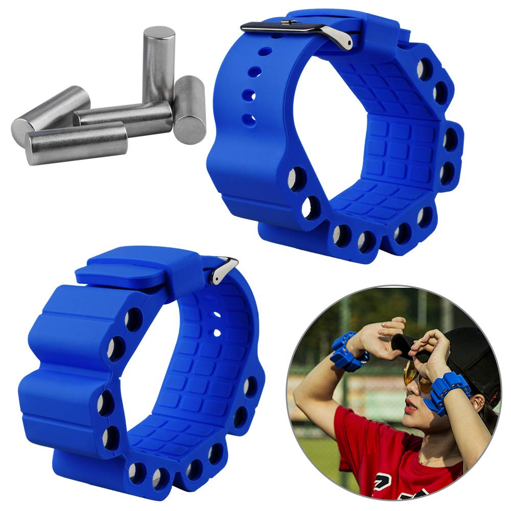 Wrist Weights, Adjustable Fitness Wearable Weighted Wristbands to Increase Arm & Leg Explosiveness and Endurance Training for Dance Barre Pilates Bounce Yoga Cardio Walking and Home Exercise (Blue)