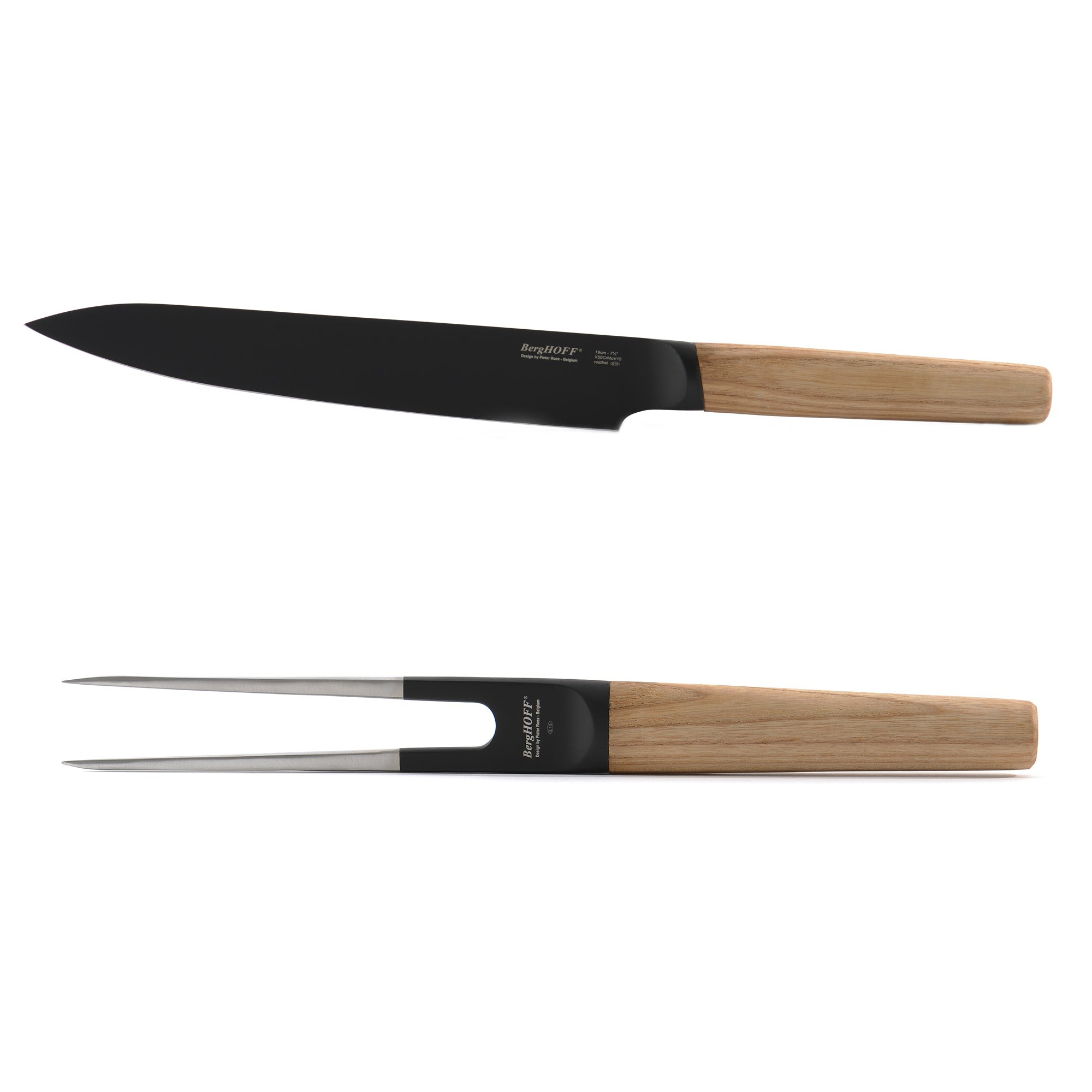 BergHOFF 2 Piece Knife & Fork Carving Set, Natural